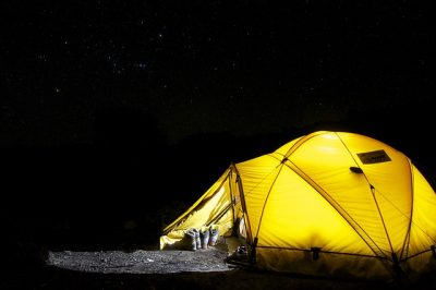 camping tent and equipment